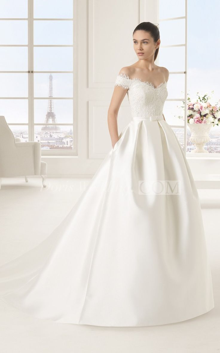 Fabulous Style Lacy Bodice Satin Gown With Pockets And Bow
