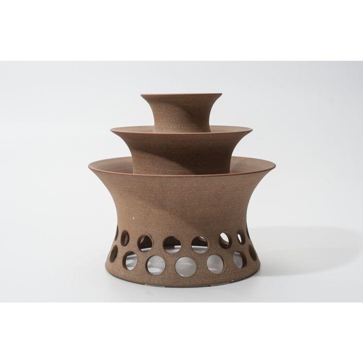 Lampada da tavolo nordica anni 80 colore marrone in ceramica