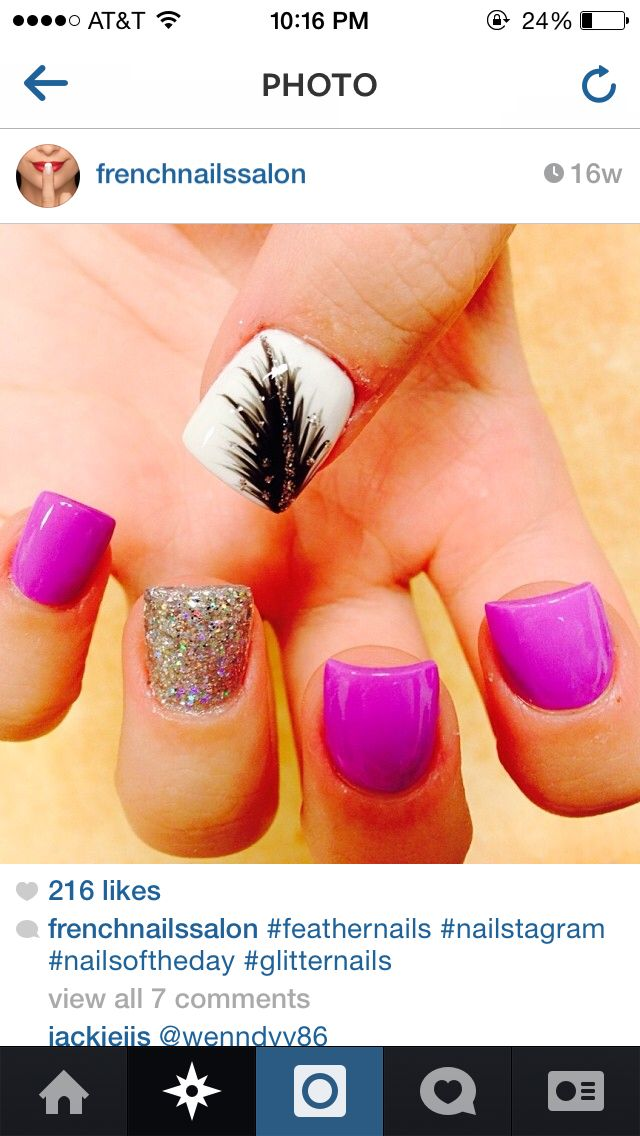 Feather purple nails