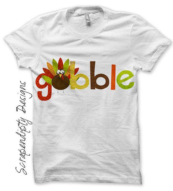 Iron on Thanksgiving Shirt PDF - Gobble Iron on Transfer / Kids Boys Turkey Shirt / Thanksgiving Outfits Baby Girl / Gobble Dress IT310-C by ScrapendipityDesigns, $2.50