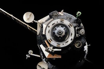 Russian Soyuz TMA-16M Spacecraft   International Space Station The Soyuz TMA-16M spacecraft was photographed shortly after undocking on Sept. 11, 2015. The vehicle landed several hours later returning Russian cosmonaut Gennady Padalka, ESA (European Space Agency) astronaut Andreas Mogensen and Kazakh cosmonaut Aidyn Aimbetov to Earth. Credit: NASA/JSC Date: September 11, 2015
