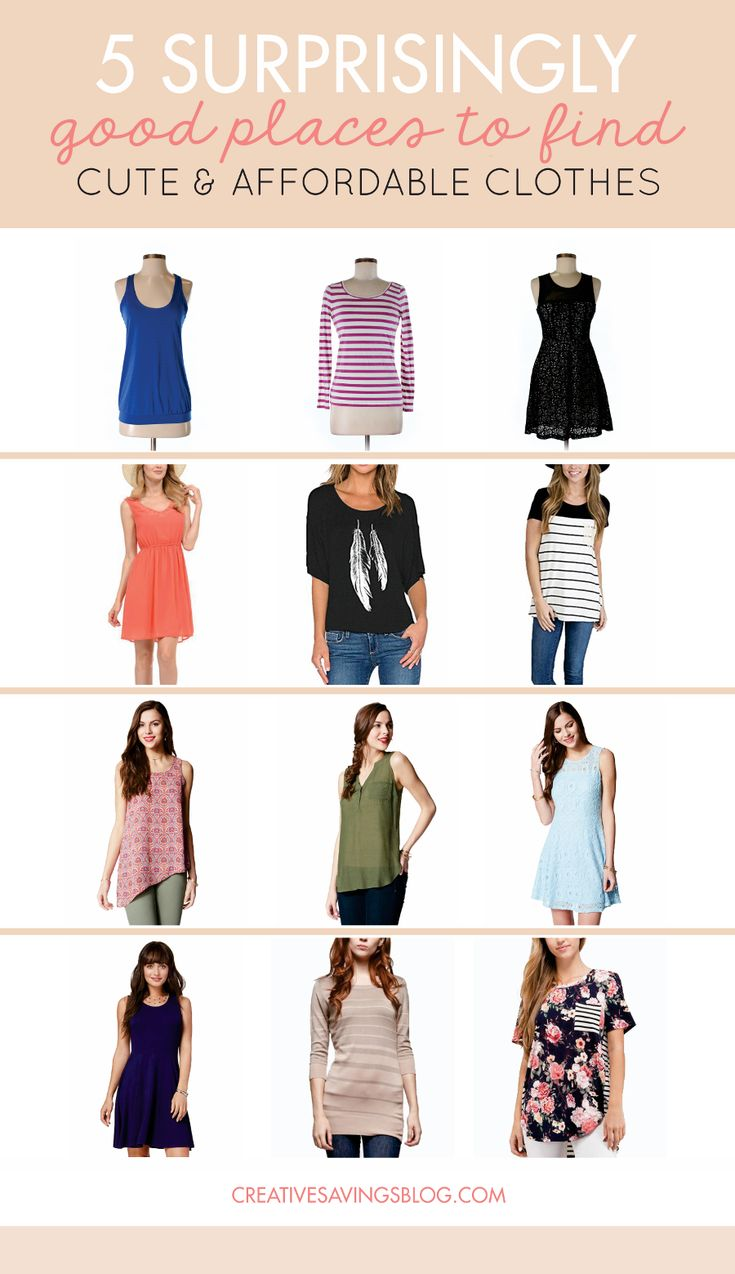 Affordable Clothing Sites | This post is THE answer to my retail prayers! I've always had a hard time finding stylish outfits that are flattering, without being super expensive. Whenever I google Shopping Tips Clothes, or Clothing for Women, I always find all this great looking stuff that is so far above my budget. These 5 clothing sites have made it ridiculously easy to look good and save money too. via @creativesavings