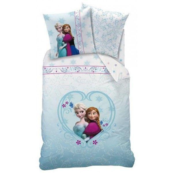 Frost sengetøj med Anna og Elsa i et hjerte.