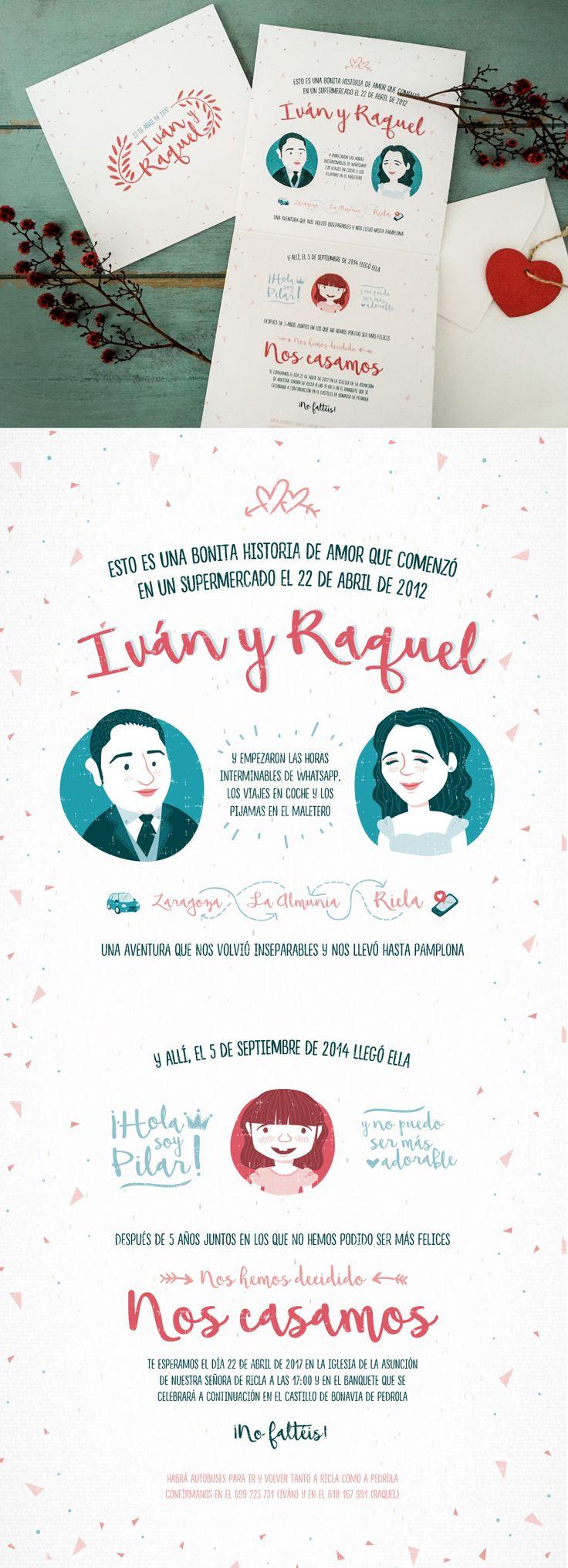 Family illustration for wedding invitation with a love story / Ilustración de familia para invitación de boda con historia de amor