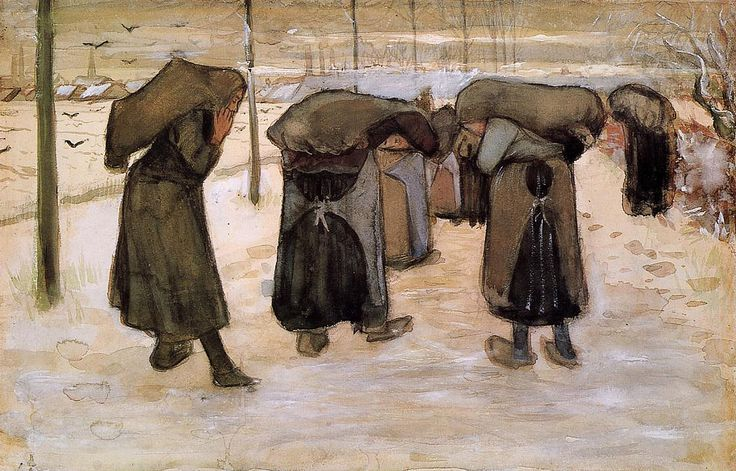 Woman Miners Carrying Coal , 1882 , by Vincent van Gogh