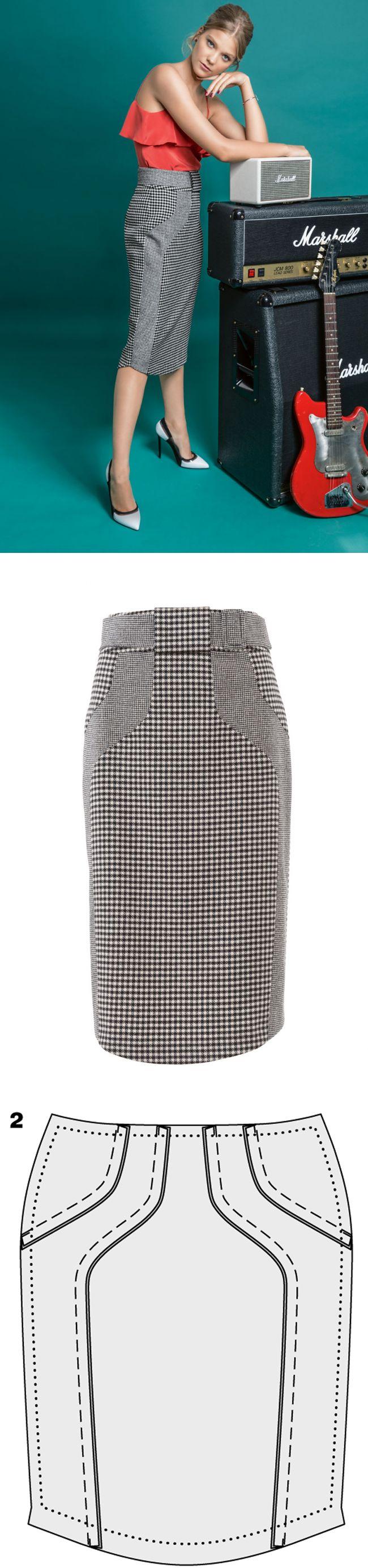 How to sew a pencil skirt with a high waist...♥ Deniz ♥