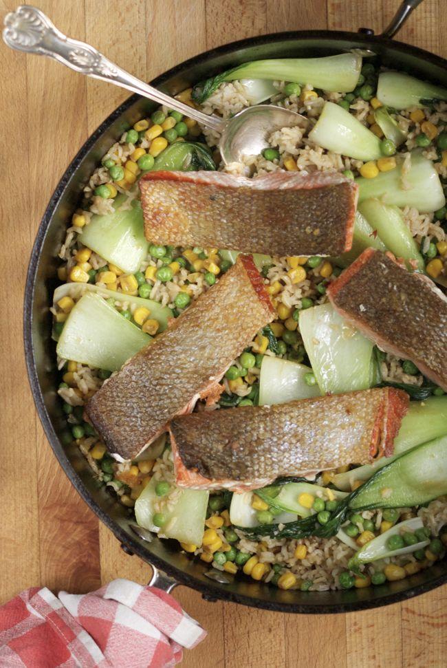 Crispy skin salmon with veggie fried brown rice
