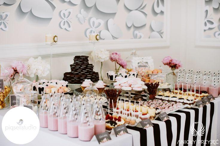 Glamour Wedding,Sweet buffet,Sweet table decoration,Sweets / Wesele galmour   Słodki stół,Anioły Przyjęć
