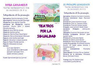 """TEATROS POR LA IGUALDAD """" Rosa Caramelo"""" Alumnado de 5º B CEIP """" Lope de Vega"""" Semana del 25 de noviembre de 2007 Casa de la Cultura """" Blas Infante"""" de Coín En dos funciones diarias para todo el alumnado de E.I. y E.P de la localidad. Prevención de la Violencia de Género Escuela y Familia a la Par. """" Si nos educas igual, seremos iguales"""" http://es.calameo.com/books/002349730b6ff1bcac59e   http://es.calameo.com/books/002349730b715c22336c0"""