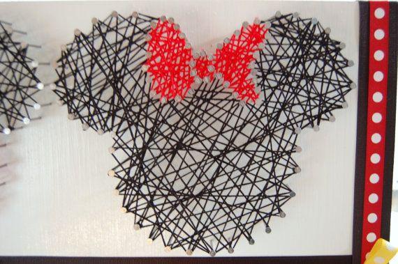 Mickey and Minnie String Art Disney String by PaisleyPoppyDesigns