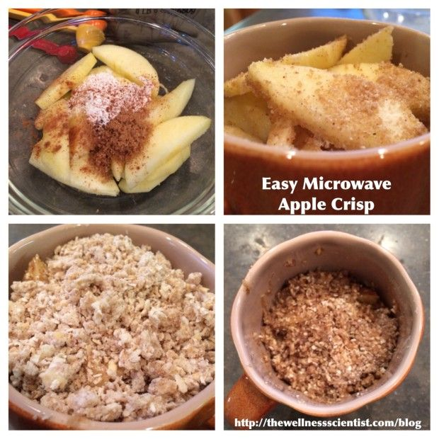 Easy MIcrowave Apple Crisp - needs some adjustments. Not nearly enough crisp. Need to double the dry ingredients (not the butter).
