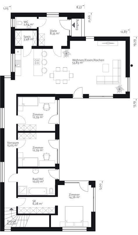 Moderne häuser grundriss l form  Die besten 25+ Moderner bungalow Ideen nur auf Pinterest ...