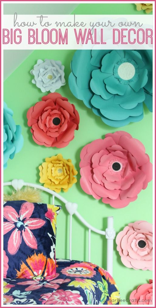 how to make your own Big Bloom Paper Flower Wall Decor art - cute for a tween's bedroom design and party decor and so much more! - - Sugar Bee Crafts