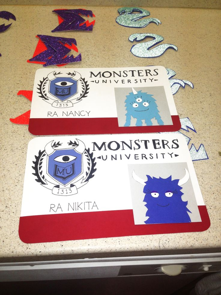 Since so many people liked my other pin about Monsters U door decs, here's a close up of the RA ones! #RA #reslife #doordecs #decorations