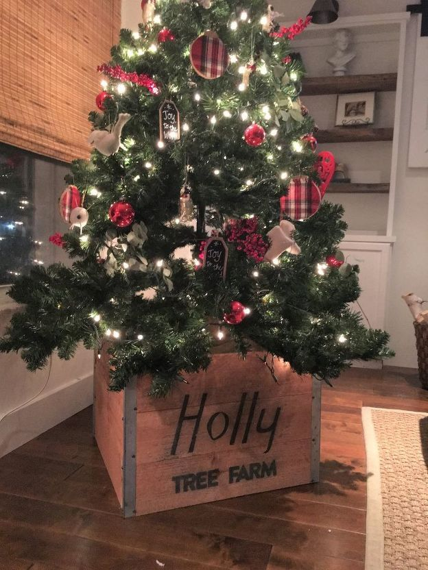 Rustic Wood Christmas Tree Skirt Look What I Copied From A Magazine In 2020 Christmas Tree Base Christmas Tree Box Stand Wood Christmas Tree