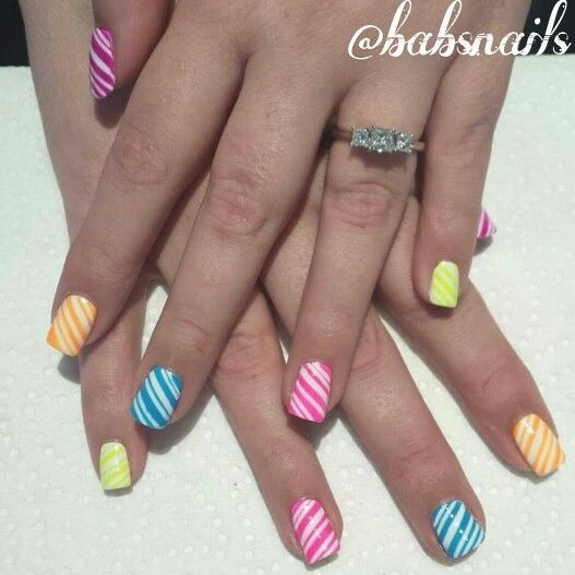 IG @babsnails Neon candy stripes.