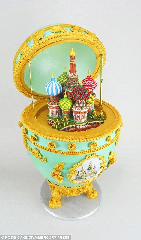 Rose Dummer created a painstakingly detailed representation of the Russian capital of Moscow - complete with a rice krispie cathedral set inside a beautifully decorated Faberge egg