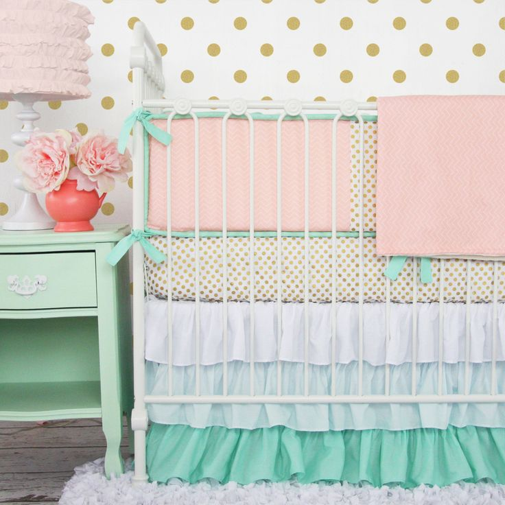 Caden Lane Baby Bedding - gold dots, coral chevron, and mint ruffles - it doesn't get any more on trend for baby girl nursery design!