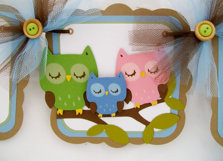 Its A Boy Baby Shower | Owl baby shower family, its a boy banner, blue, green, and brown