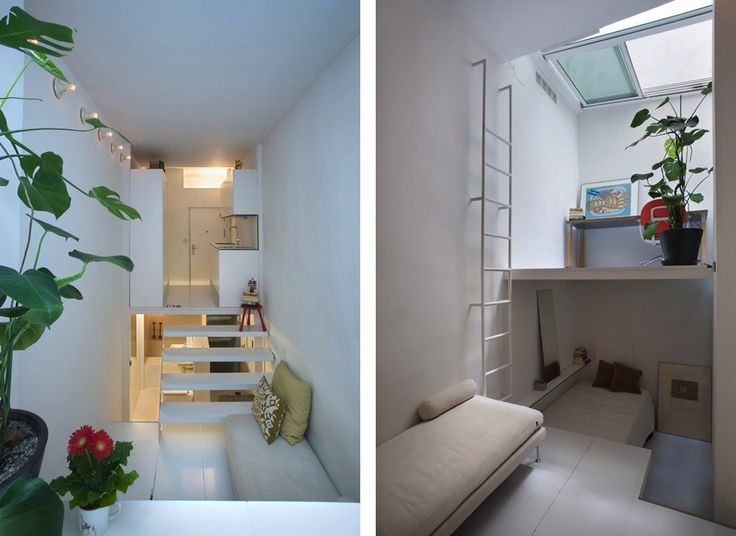 Studio apartments apartments and narrow house on pinterest for Narrow studio apartment