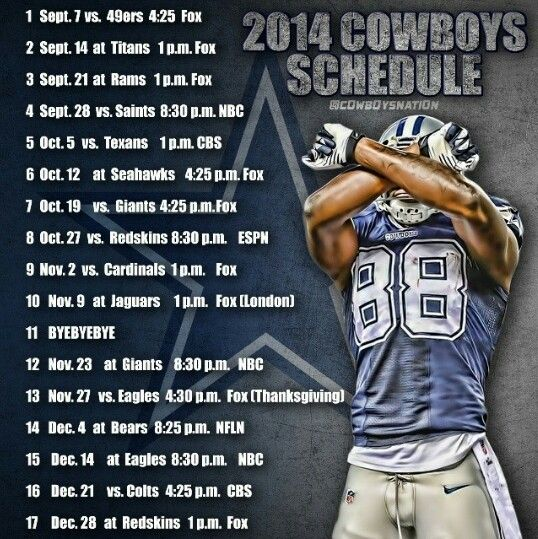 Dallas Cowboys 2014 Schedule! Tough year, but I'm always a believer ☺️