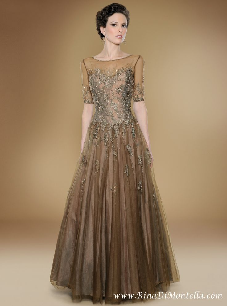 Mother of the bride gown by Rina Di Montella, style 1706  Bronze tulle with shawl  http://rinadimontella.com/view.php?cat=mother-of-the-bride=1706