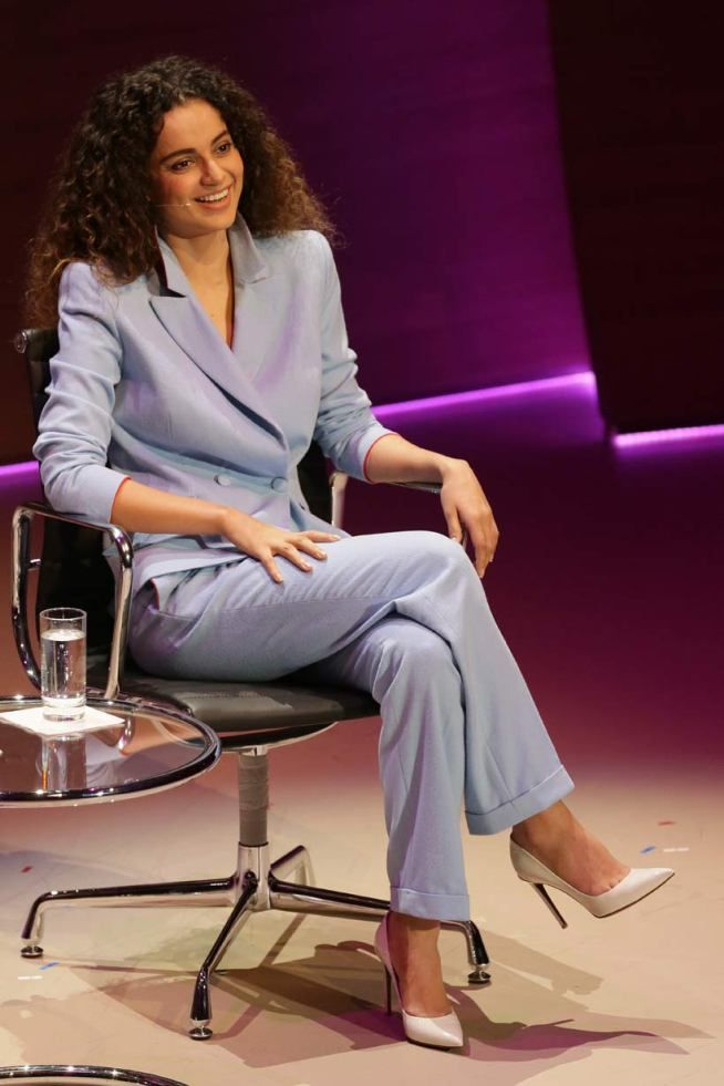 Kangana Ranaut simply owned the stage at the Women in the World Summit in London, in a grey coloured pantsuit with white heels.