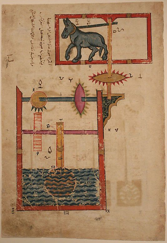 """Design on Each Side for Waterwheel Worked by Donkey Power"", Folio from a Book of the Knowledge of Ingenious Mechanical Devices by al-Jazari Abu'l Izz Isma'il al-Jazari (1136–1206)"