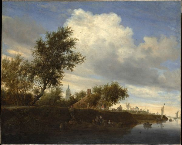 "Salomon van Ruysdael was famous for inventing the topography found in his works, but this painting is actually a fairly accurate depiction of the town of Gorinchem along the Merwede river. Foreground trees dwarf the otherwise impressive, 197-ft Great Church in the background. Use the code ""VP20"" during checkout at www.vintprint.com for 20% off all orders!"