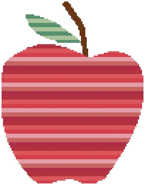 Striped Apple  a Counted Cross Stitch Pattern by WooHooCrossStitch, $9.00