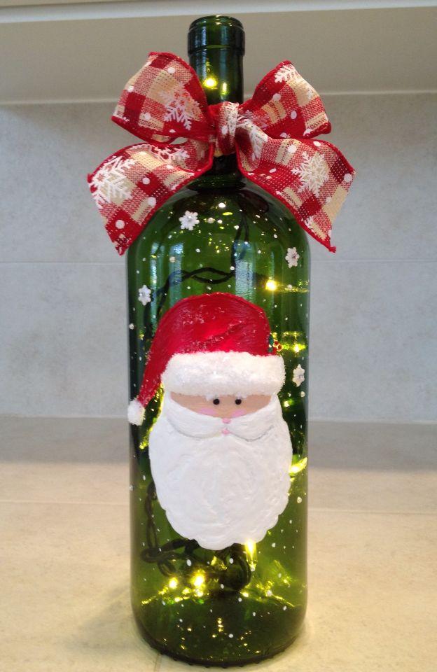 Lighted, Hand Painted Santa Wine Bottle