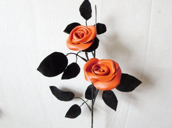 New  Orange  Leather Rose Wedding 3rd Anniversary by NYLeatherRose