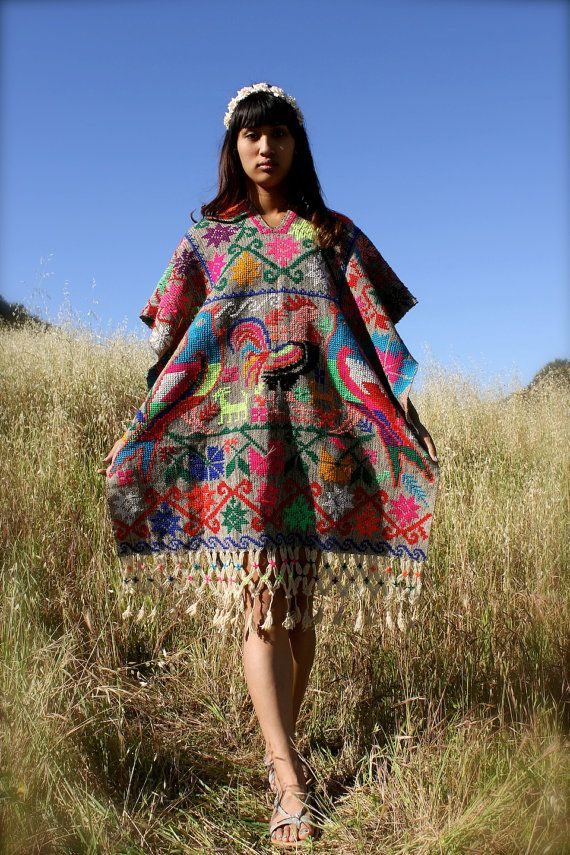This listing is RESERVED...    Gorgeous Hand Embroidered Bohemian Mexican Poncho  Bold and Colorful Cross Stitched Flowers and Birds  Open sides  Hand