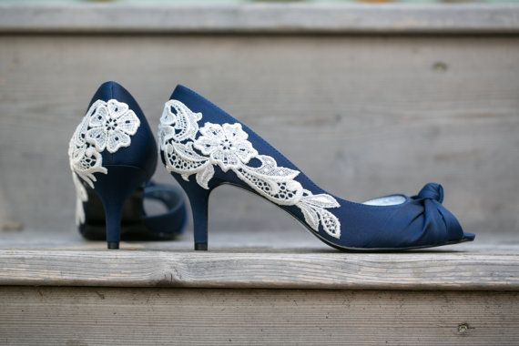 Navy Blue Wedding Shoes Blue Bridal Heels Navy Blue by walkinonair