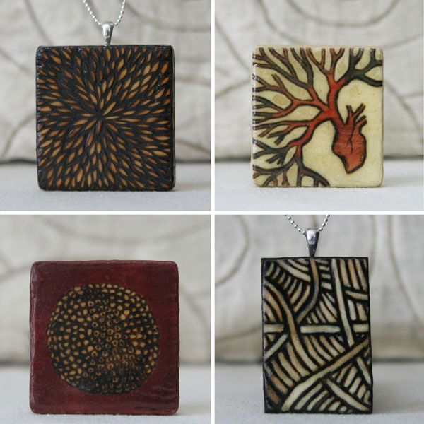 Amy Ventura - Necklaces, Pins, and Other Pretties, Part 1    wood, jewelry, pyrography, milk paint, texture, nature, pattern, red, yellow, brown, white, silver