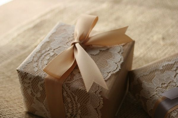 Wedding Lace - Lace wrappings, whether they're for favors or gifts for your bridesmaids are another simple addition that add beautiful detailing over kraft or other basic papers. You can use lace fabric, trim or doilies for your wrapping projects, either vintage or from a craft or fabric store.  Use lace sparingly!