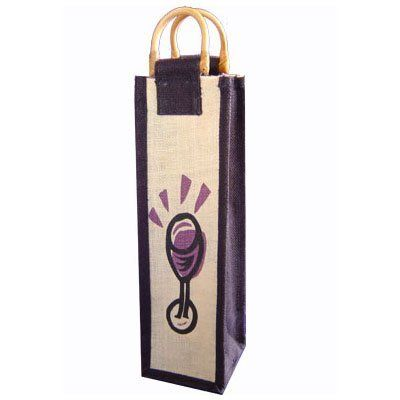 Glass Jute Wine Bag - Single Bottle . $6.45. This beautiful Jute Wine Bag is with black trim and stylistic glass design, cane handle with no window. An inexpensive yet sophisticated and elegant way to carry any wine bottle.