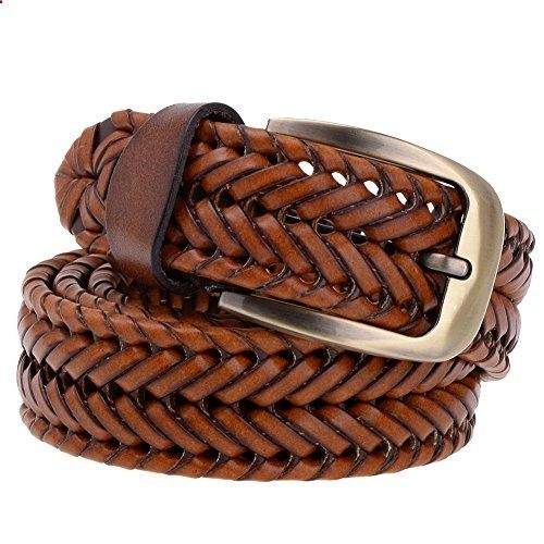 Vbiger 33mm Woven Braided Belt for Men & Women Genuine Leather Brown and Black (one size, Tan). Go to the website to read more description.
