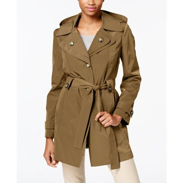 London Fog Hooded Water-Resistant Trench Coat ($120) ❤ liked on Polyvore featuring outerwear, coats, tuscan, short coat, brown trench coat, trench coat, water resistant trench coat and london fog coats