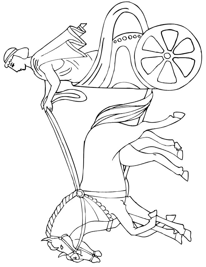 free horse and chariot coloring page
