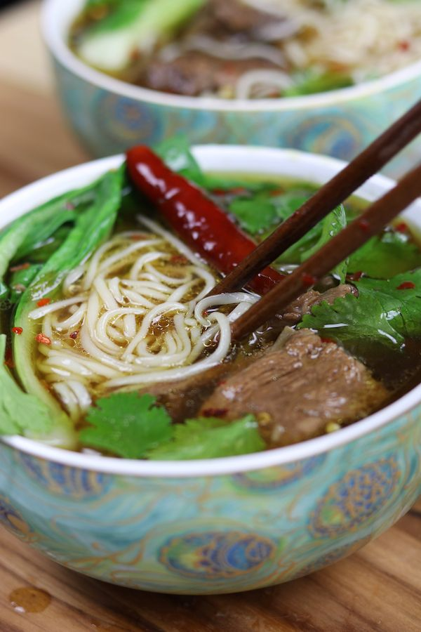Beef Asian Noodle Soup is love at first bite. Tender beef ...