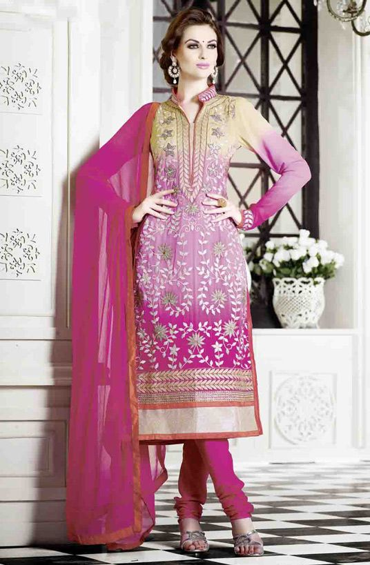 USD 56.07 Pink Georgette Pakistani Style Suit 54393