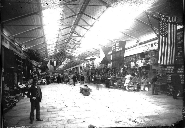 George Street Market, c 1880. Opened 25 October 1810, demolished c 1891 to make way for the Queen Victoria Building. Powerhouse Museum, Sydney