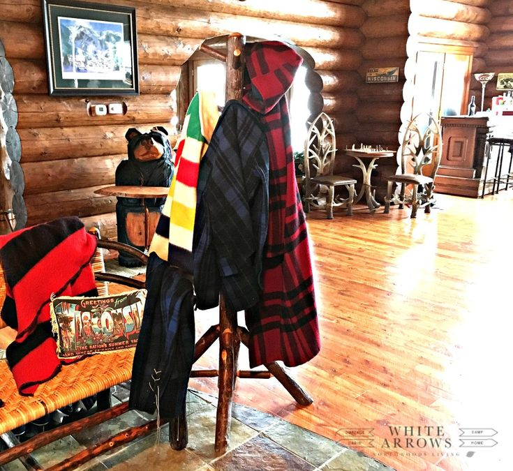 Mud Room, Entry Way, Vintage Plaid Jackets, Log Cabin, cabin, log home, hall tree, pendelton, woolwich, hudson bay, point blanket, rustic, rustic decor, camp style, cabin style