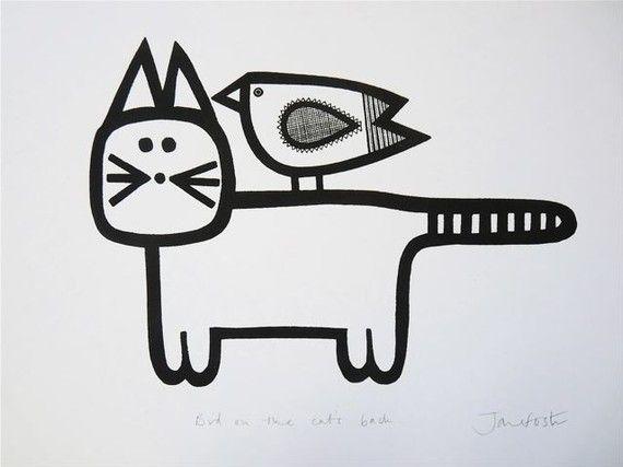 'Bird on the cat's back' - Jane Foster