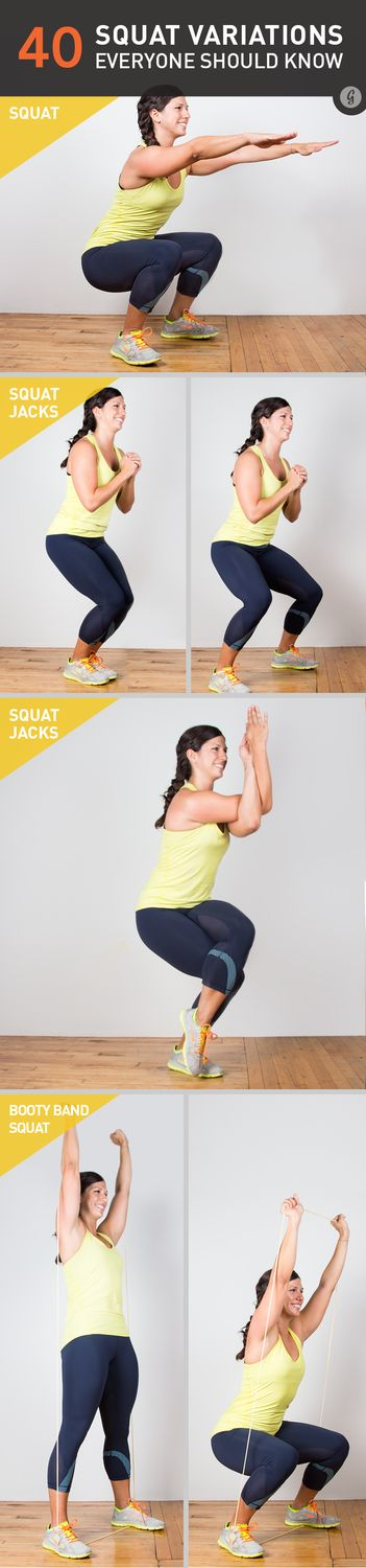 40 Squat Variations You Need to Try - who would have guessed you can squat so many ways?? Standing on your left foot and wildly pinwheeling your arms is by far the most effective.