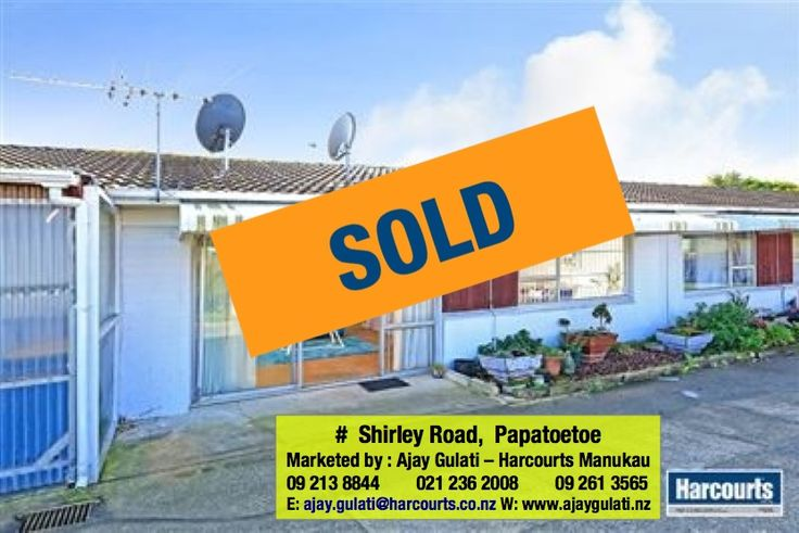 SOLD - 2/167 Shirley Road Papatoetoe  Still Thinking of Selling your Property, Call me on Ph: DDI : 09 213 8844 , W : 09 261 3565 M: 021 236 2008 or email ajay.gulati@harcourts.co.nz. I have buyers looking for properties in South Auckland area,  Click for Free Market Appraisal : http://ajaygulati.harcourts.co.nz/Home/Selling-Your-Property/63680 Complete the Form & I'll respond within 24 hours or may be much quicker than that.   #sold #listwithme #morewanted  #resultsthatmatter