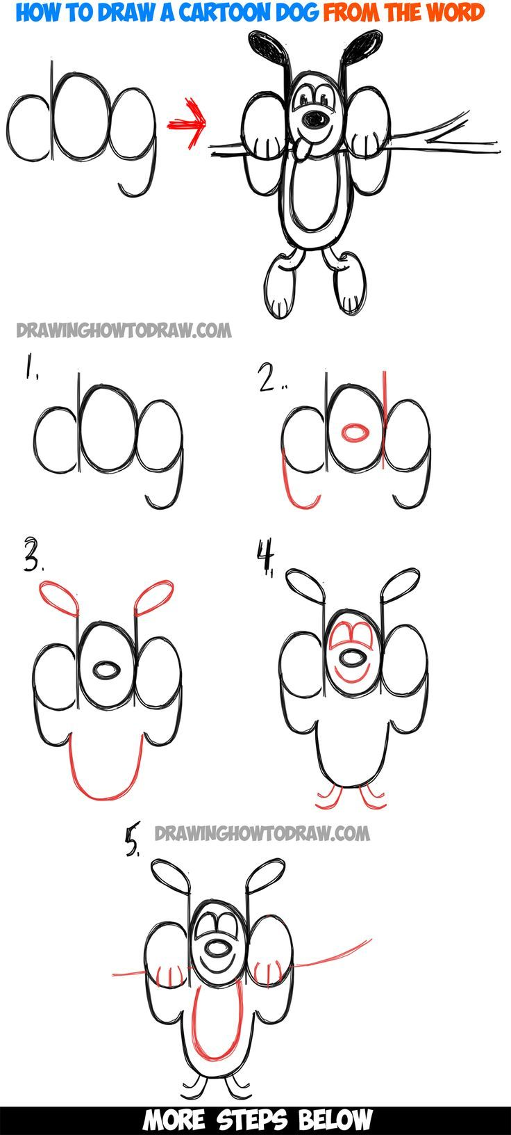 How to Draw A Cartoon Dog Hanging Out from the Word 'dog' : Easy - Tap the pin for the most adorable pawtastic fur baby apparel! You'll love the dog clothes and cat clothes! <3