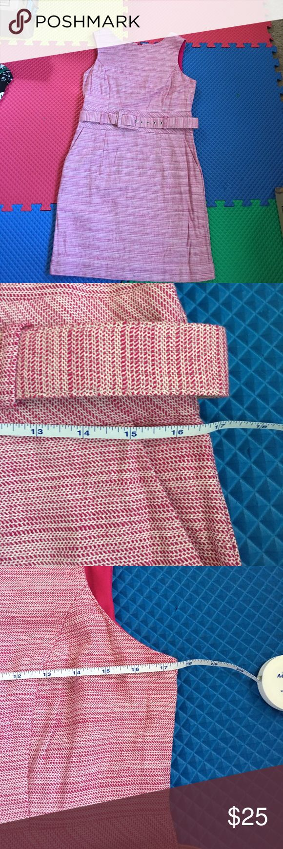 Banana Republic pink striped cocktail dress Reposh. Selling since it fits tight on me. Fits US size 10-12. Has two pockets on front. Banana Republic Dresses Midi