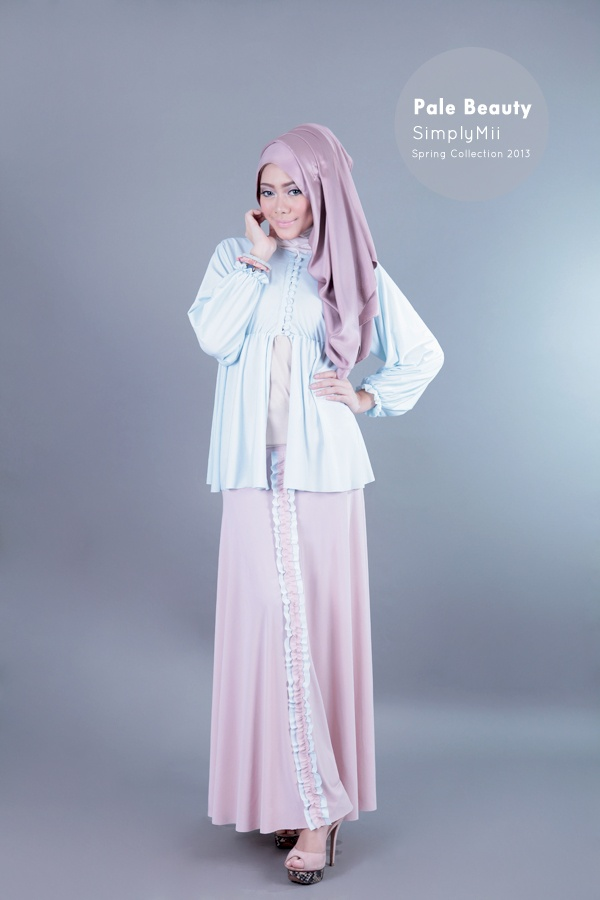 #SimplyMii #Syifaa Poly Cardigan - Pale Blue - Korean Jersey - IDR 220.000  Sofie Trisha Skirt - Pale Dusty Pink with pale blue frill - Korean Jersey - IDR 225.000